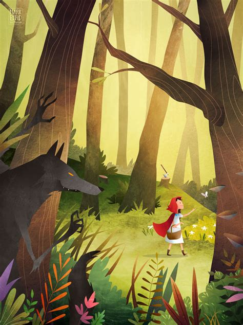 little red riding hood and wolf illustration red riding hood mark bird illustration