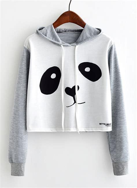 Jaket Hodie Footpint Panda s panda printed sleeve crop top hoodie