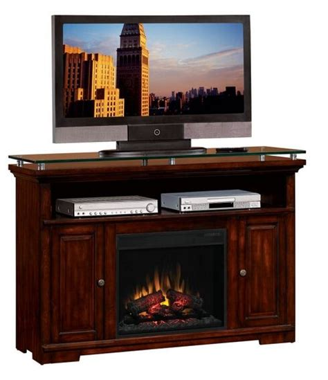 tv stands with built in fireplace cherry finish wood glass top tv stand entertainment