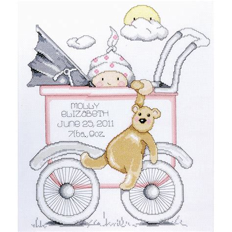 Baby Drawers Birth Record Cross Stitch Kit Tobin Baby Buggy Boy Birth Record Counted Cross Stitch Kit Walmart