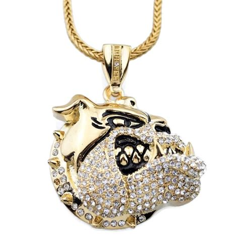 pendant l with chain iced out bulldog pendant micro pave gold tone 36 quot franco