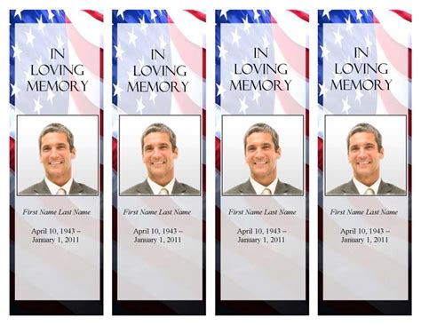 Funeral Program Templates Memorial Bookmark Patriotic Us Template In Loving Memory Bookmark Template Free