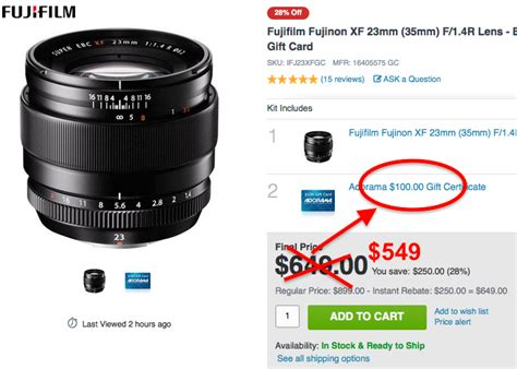 Adorama Gift Card - adorama adds some gift cards to fuji us x deals get the xf 23mm for 549 xf27mm