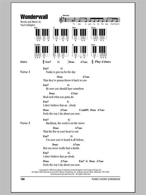 lyrics and piano chords wonderwall sheet by oasis lyrics piano chords