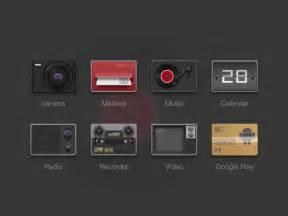 retro app icons set  psd  psd