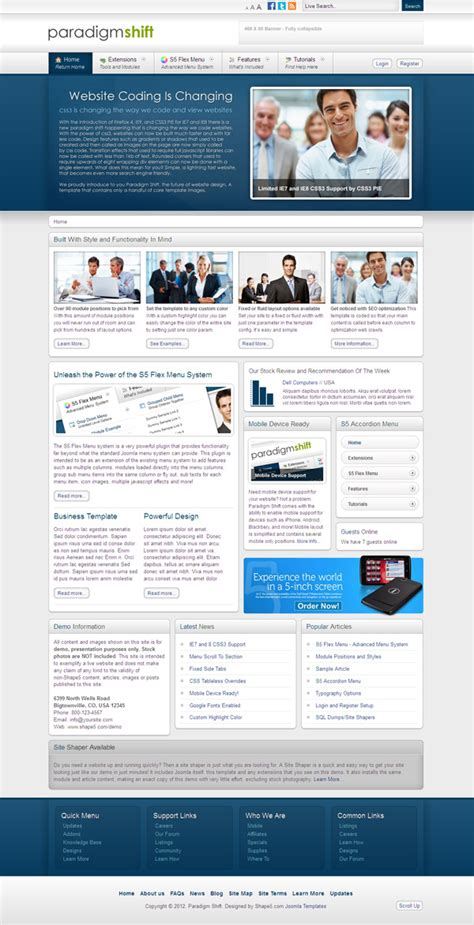 template joomla corporate paradigm shift professional joomla template for corporate