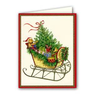 sleigh with tree boxed greeting cards paperstyle
