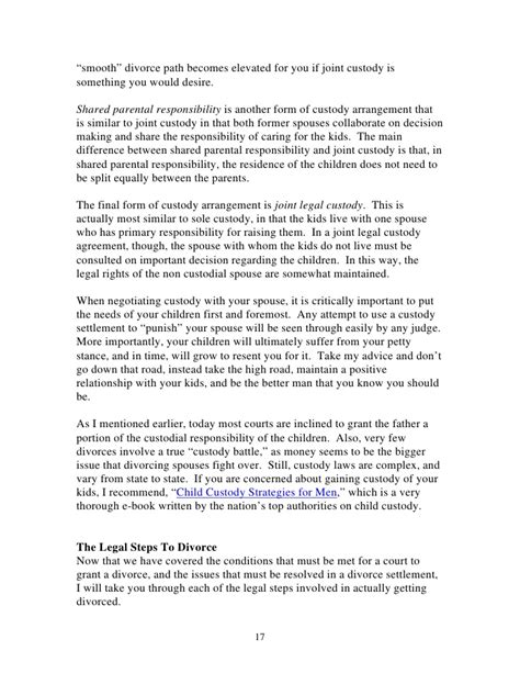 Sle Custody Agreement Letter Between Parents Mens Guide To A Smooth Divorce