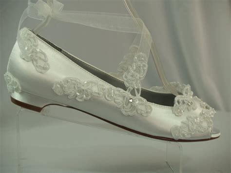 white flats shoes wedding wedding flats white half inch heel shoes peep toes flats