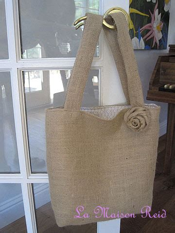 pattern for burlap tote bag la maison reid burlap tote with shabby rose another