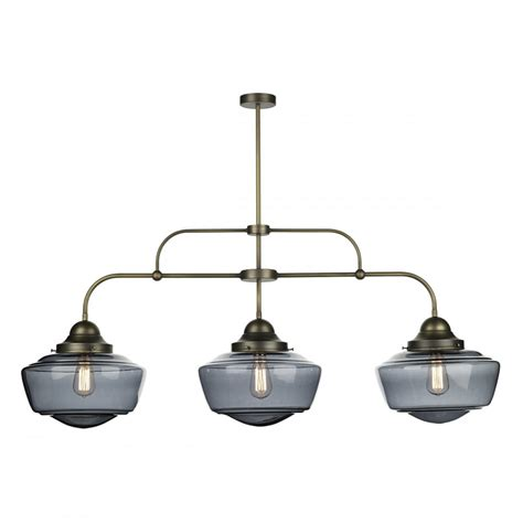 Bar Pendant Lighting 3 Light Bar Pendant Suspension With Smoked Glass School