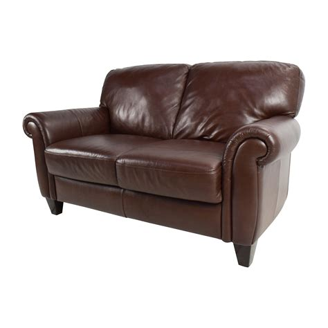 sofa and love seats 50 off brown roll arm leather loveseat sofas