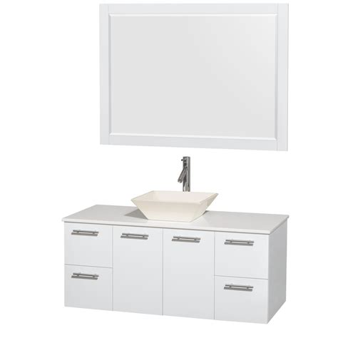 Glossy Pyra wyndham collection 48 inch single bathroom vanity in glossy white white made