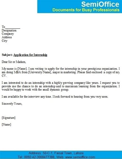 Mba Intern Cover Letter by Application Format For Internship