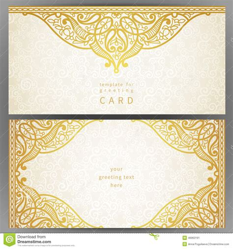gereting card templates flaa vintage ornate cards in style stock vector