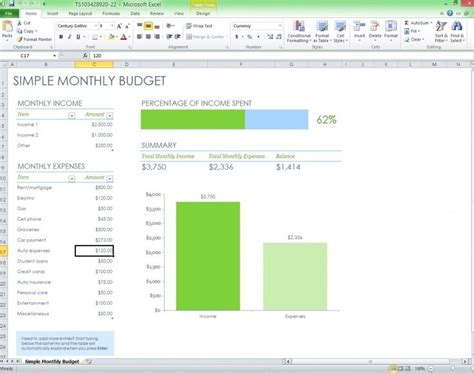 free monthly budget excel template from