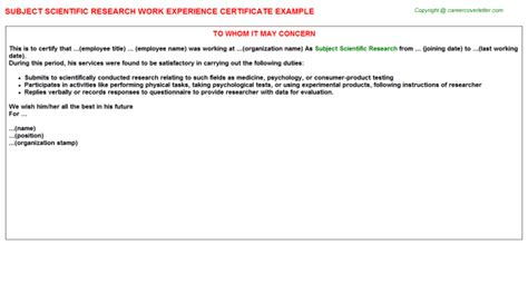 Research Experience Letter Format Subject Scientific Research Work Experience Certificate