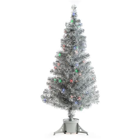 fibre optic christmas tree silver silver clover medium fiber optic pre lit tree 5 ft multicolor trees