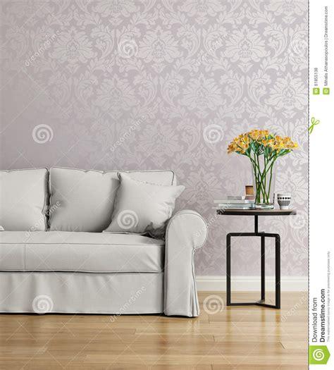 wallpaper to go with grey sofa grey sofa with a purple damask victorian wallpaper stock