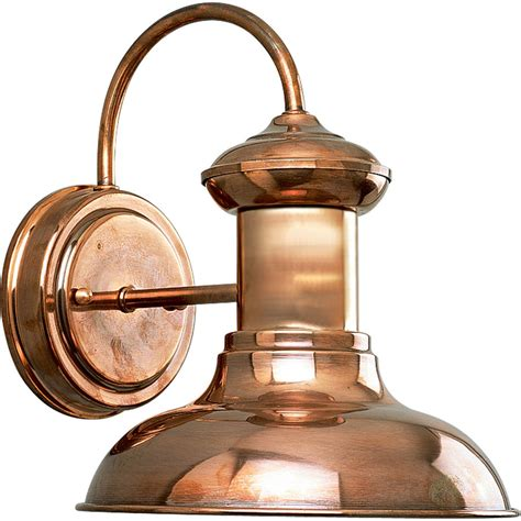 Progress Outdoor Lighting Fixtures Shop Progress Lighting Brookside 9 75 In H Copper Outdoor Wall Light At Lowes