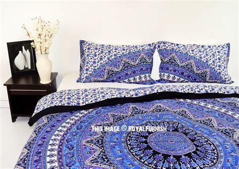 blue boho bedding blue purple kerala boho style bedding mandala duvet cover