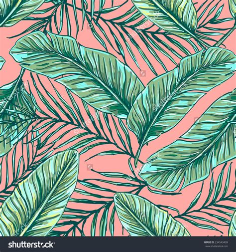 palm leaf pattern vector beautiful seamless tropical jungle floral pattern