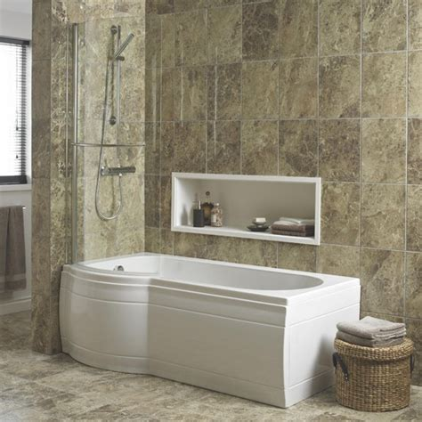 B Q Bathrooms Showers Adelphi Curved Shower Bath By Cooke Lewis At B Q Shower Baths 10 Of The Best Housetohome