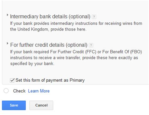 how to add gtbank account and bic code to adsense payment settings