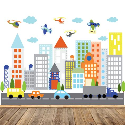 wall stickers city vinyl wall sticker decal city buildings with cars