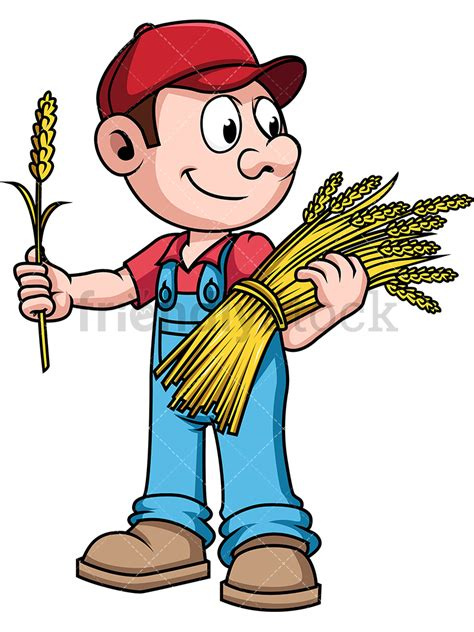 farmer clipart farmer harvesting wheat vector clipart friendlystock