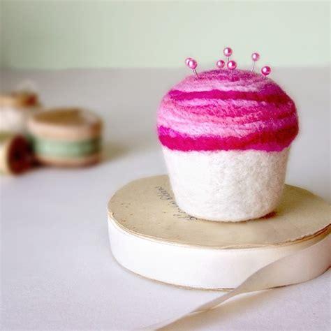 Pinchusion Cup Cake pincushion strawberry swirl cupcake felted wool