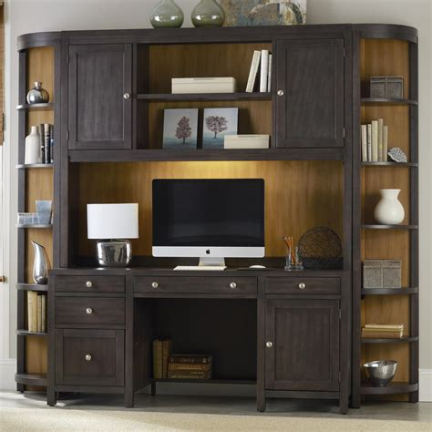 wall unit computer desk computer credenza wall unit with power bar by hooker