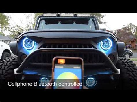 halo jeep wrangler jeep wrangler rgb halo headlights and fog lights