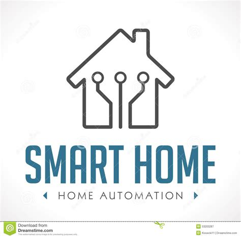 logo home automation stock vector image 53203287