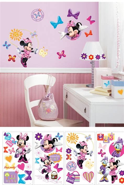 minnie mouse wall sticker disney minnie mouse bow tique wall stickers