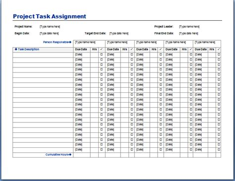 project task assignment template format exle