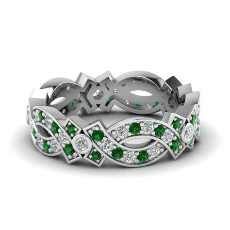 14k white gold green emerald eternity band fascinating