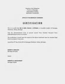Certification Letter In The Philippines Certification Of Income Sample Filesishare
