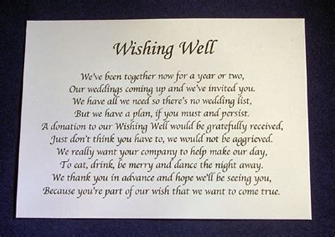 Wedding Wishes Poem by Personalised Wishing Well Money Request Poem Gift Cards