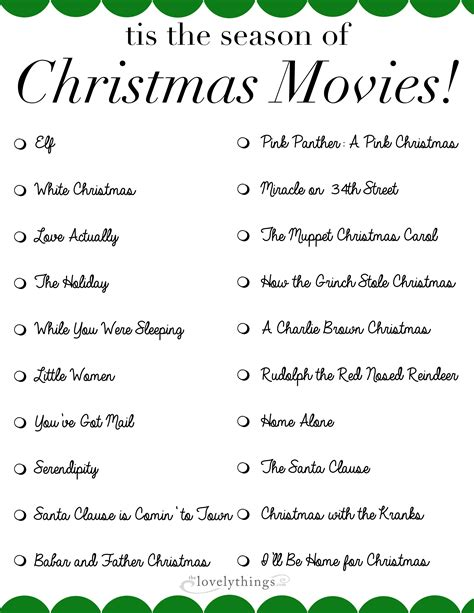 printable christmas movie list movies archives the lovely things
