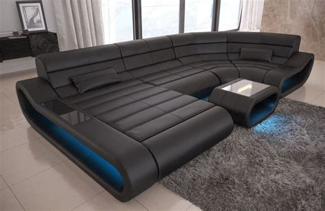 u shaped leather sofa luxury leather sectional sofa concept u shape led lights