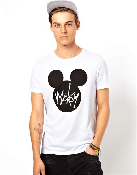 design free asos t shirt asos t shirt with mickey mouse print in white for men lyst