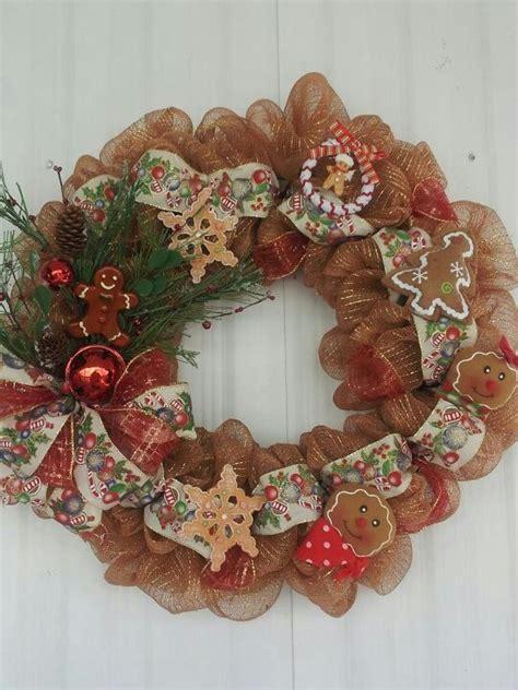 gingerbread man deco mesh wreath ideas christmas winter