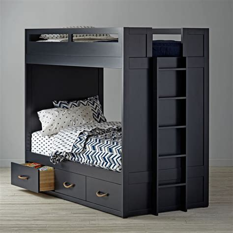 blue bunk bed kids bunk beds loft beds the land of nod