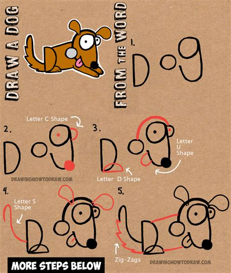stencil tutorials learn how to how to draw cartoon dogs with the word dog in easy steps