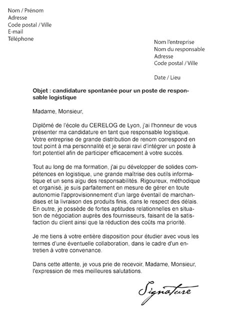 Lettre De Motivation Ecole De Transport Lettre De Motivation Responsable Logistique Mod 232 Le De Lettre