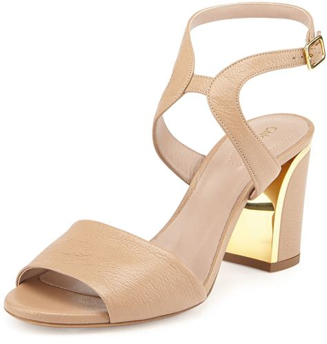 beige heeled sandals beige leather heeled sandals chlo 233 leather curve