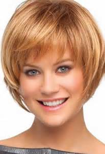 Light brown layered bob hairstyles with bangs for short hair
