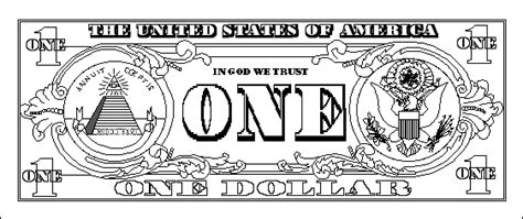 coloring page dollar bill us one dollar bill back printout enchanted learning