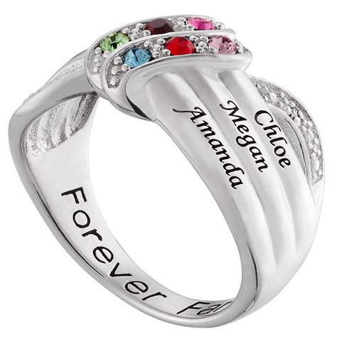 sterling silver birthstone and name personalized ring